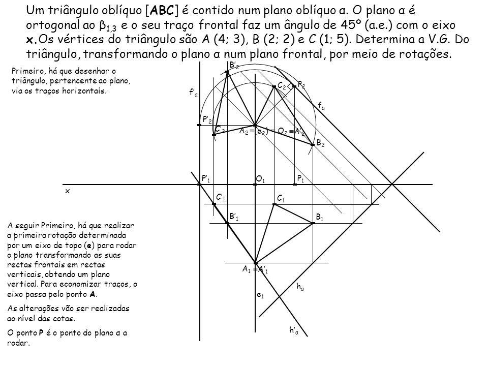 Um triângulo oblíquo [ABC] é contido num plano oblíquo α